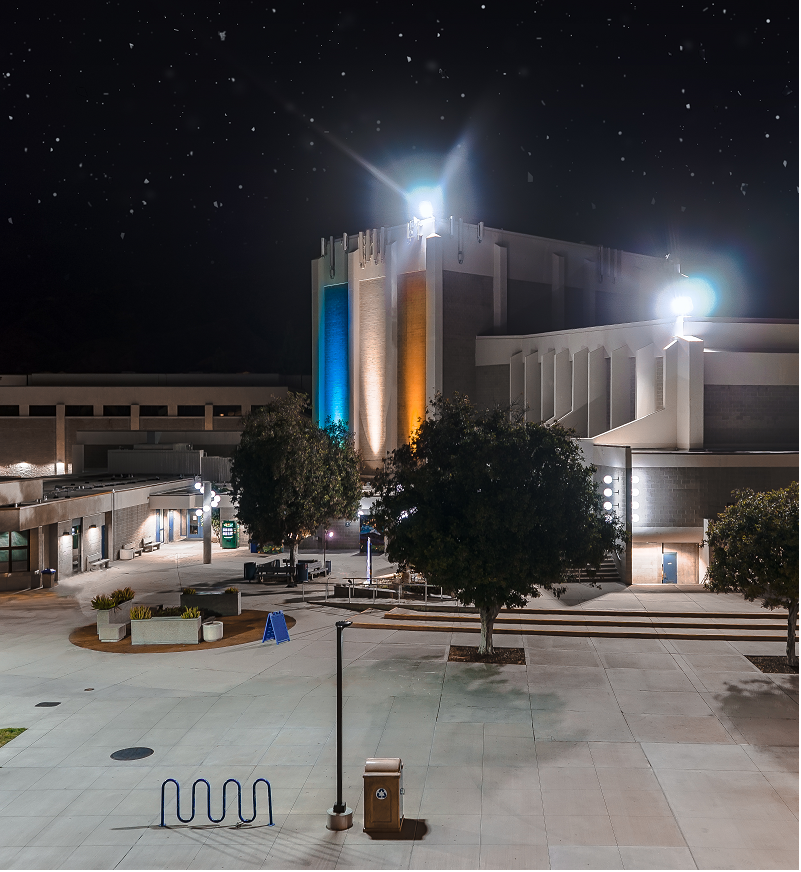 An aerial shot of Citrus College's HPAC at night.