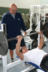 weight training with spotter