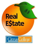 logo of an orange and the words Real Estate in the center of the orange