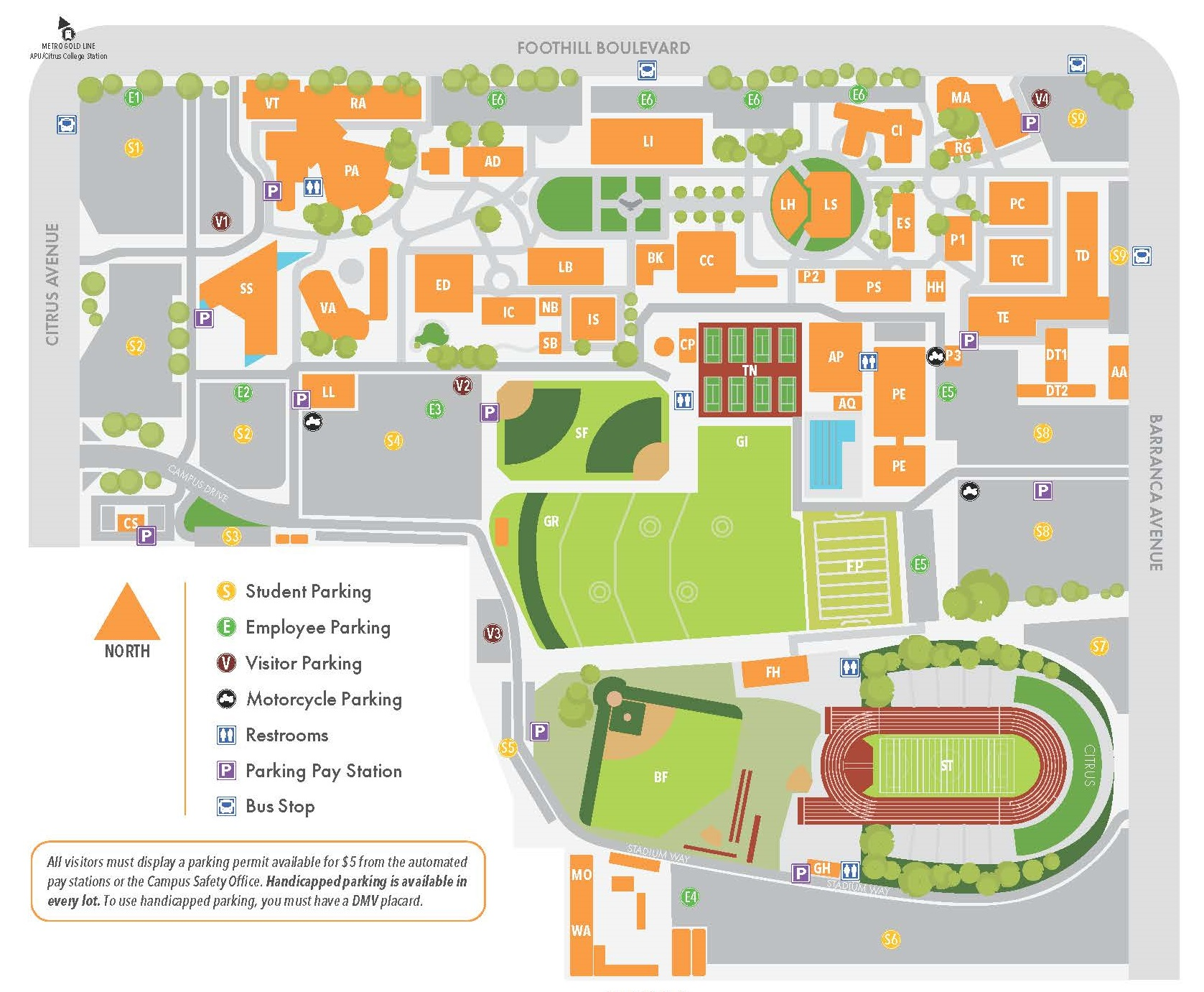 Campus map noting the APS locations