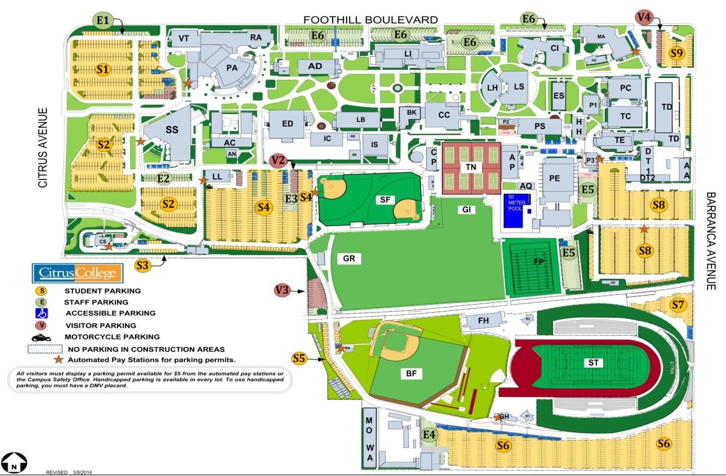 Citrus College Map Automated Pay Stations for Daily Parking Permits Citrus College Map