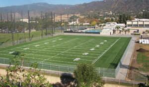 Bird's eye view of the football field