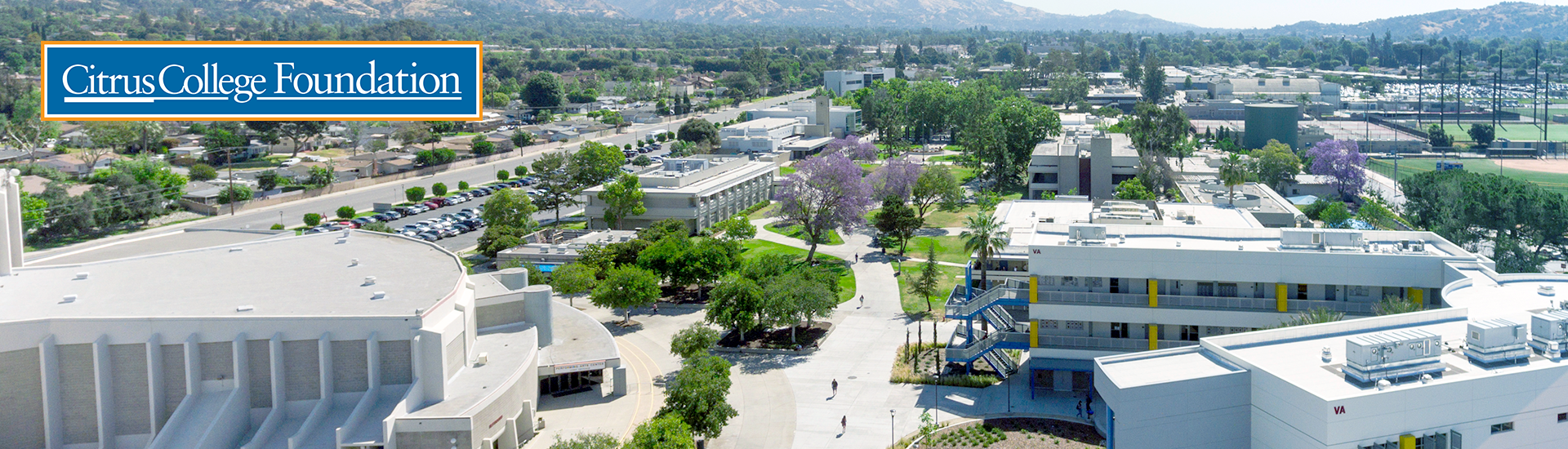 aerial shot of the Citrus College campus facing east with the Citrus College Foundation logo