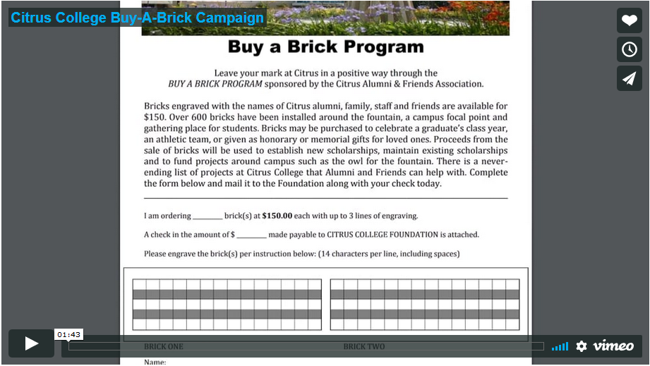 screen shot of Vimeo Buy a Brick video
