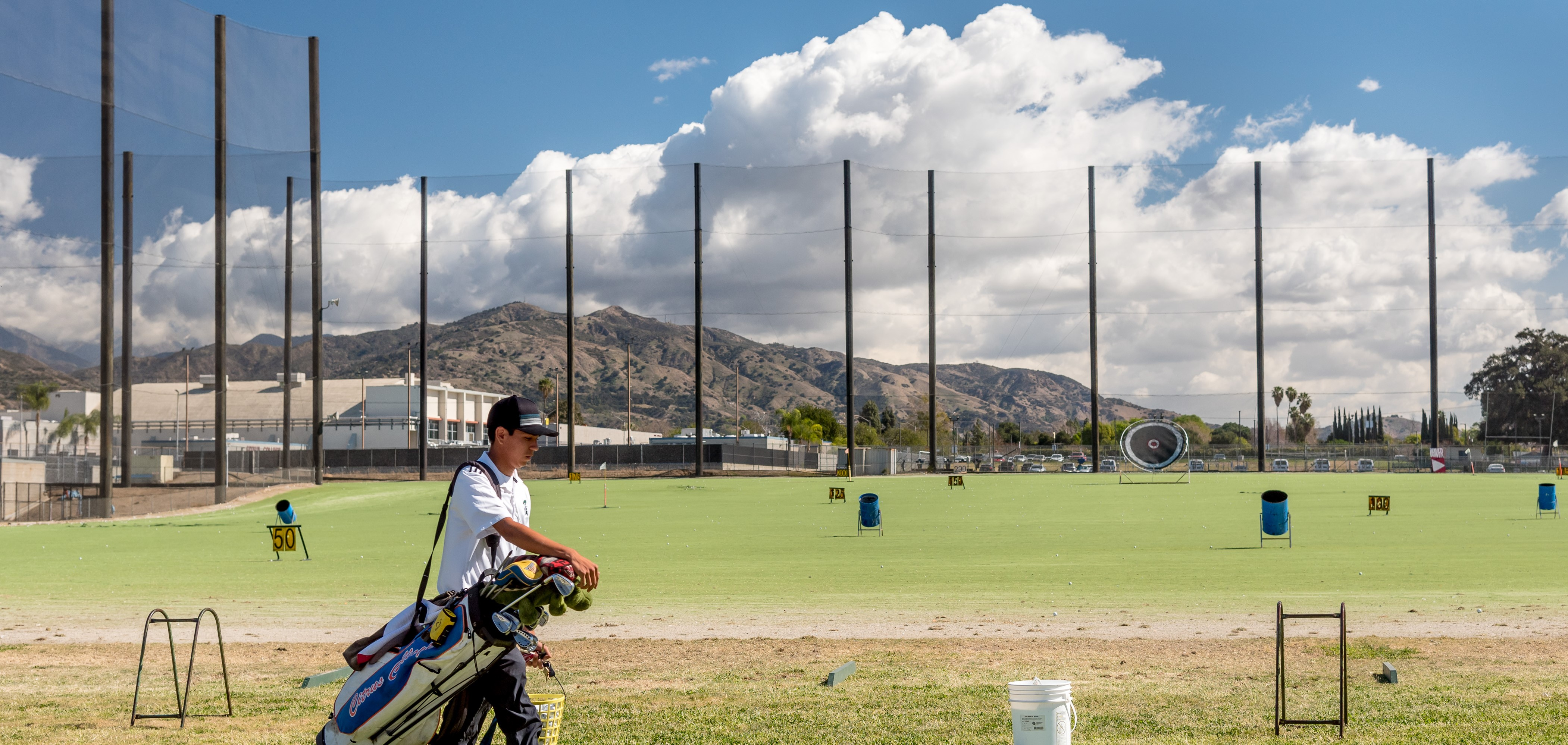 A view of the Range at Citrus with the San Gabriel mountains in the background